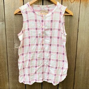 LOFT Pink White Gold Madras Plaid Tank Blouse